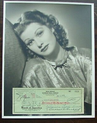 """Lucille Ball Original Gallery Portrait 11""""x 14"""" Photo Master Print Signed Check"""