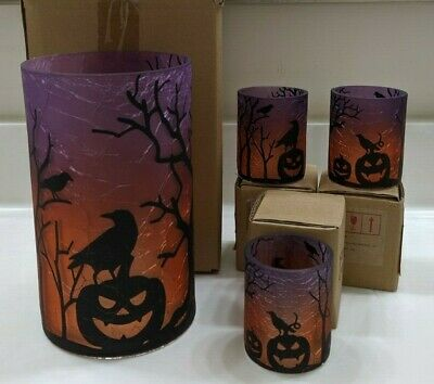 Yankee Candle~~all Hallow Eve~jar Holder & 3 Votive Holder~ Nib~~rare~~ Retired