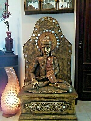 Large Antique Wooden Buddha Statue From Nepal, 19th / 20th Century