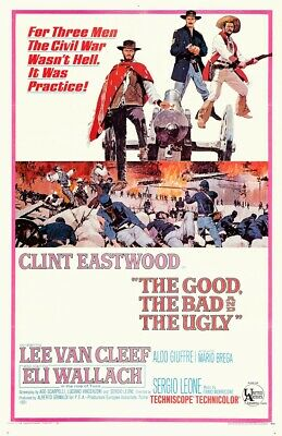 the good, the bad and the ugly movie / film poster  linen backed  eastwood