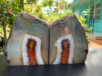 Pair Of Rock Stone Bookends , Heavy 12,5 Lbs.beautiful Nature Stone.hard To Find