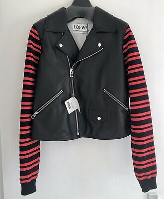 Sold Out!loewe Leather And Striped Wool Blend Biker Jacket Net A Porter
