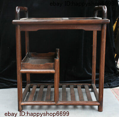 Collect Chinese Hua Li Wood Carved Tea Table Tea-things Teapoy End Table Statue