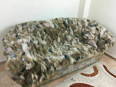 Brand New Multicolor Fox Fur Blanket Bedspread  Sizes Throw Twin Queen Or King