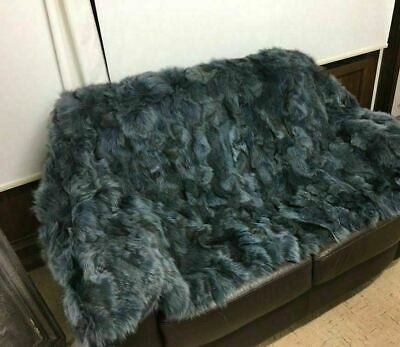 New Charcoal Green Fox Fur Blanket  Available In Throw Twin Queen Or King Size