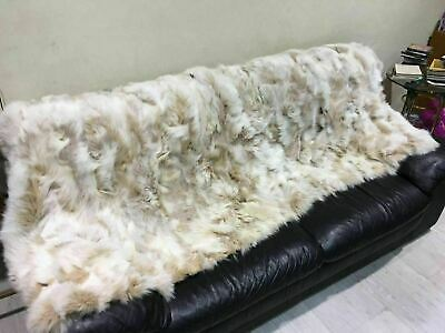 New Brown White Fox Fur Blanket  Available In Throw Twin Queen Or King Size