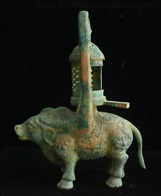 "18"" Old China Western Zhou Dynasty Bronzeware Ox Beast Candle Holder Candlestick"