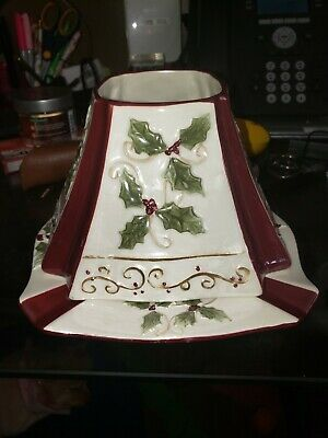 Yankee Candle Large Jar Candle Christmas Poinsettia Topper Shade W/plate