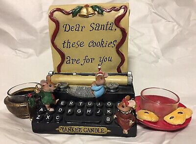 Rare Yankee Candle Typewriter Mice Votive Tea Light Burner Dear Santa Cookies Mc