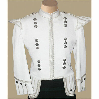 New Sale White  Doublet Military Marching Band Drummer Jacket Expedited Shipping