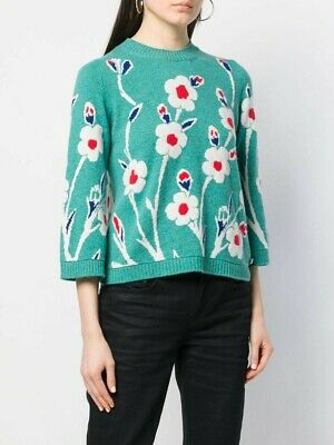 chanel authentic 100% cashmere 3/4 sleeve floral turquoise sweater jumper size36