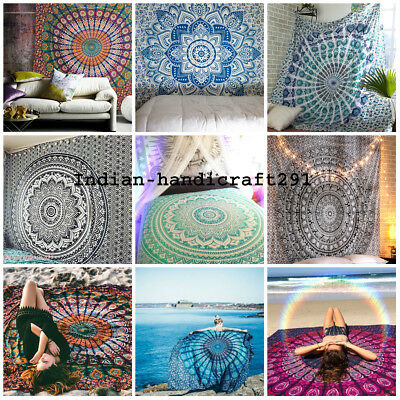 Lot Of 5 Twin Mandala Tapestry Wall Hanging Indian Throw Decor Hippie Bedspread