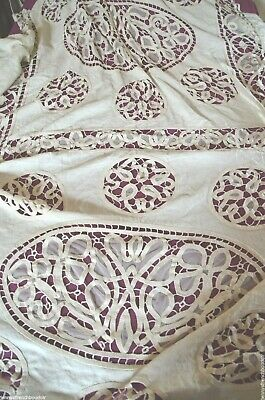 French Art Nouveau Hand Made Tape Lace Heavy Linen Bed Cover Throw