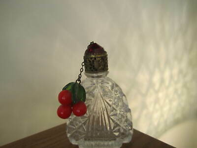 Vintage Small Perfume Bottle With Cherries Dangle Made In Czechoslovakia