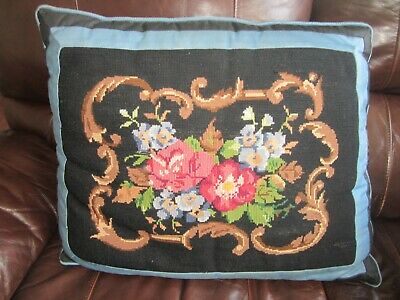 Vintage Beautiful Unique Needlepoint Handmade Throw Pillow Flowers Floral 23 X18