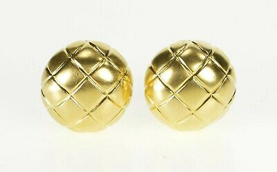 18k Plaid Design Ornate Button French Back Earrings Yellow Gold *54