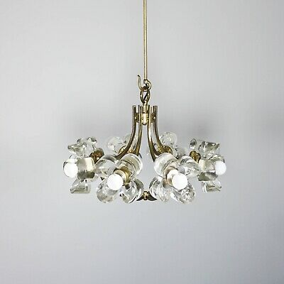 Mazzega Ceiling Light From Murano Glass In Flower Shape And Brass Parts 1.124z