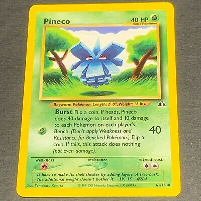 Pokemon Neo Discovery Set COMMON Pineco 61/75 - Near Mint (NM) Condition