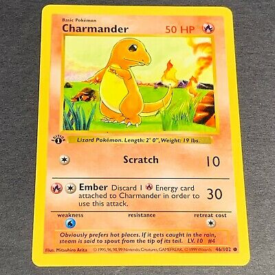 Pokemon 1st Ed. SHADOWLESS Base Set COMMON Charmander 46/102 - Near Mint (NM)