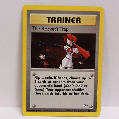 Pokemon The Rocket's Trap 19/132 Gym Heroes Trainer Card Holo Rare NM