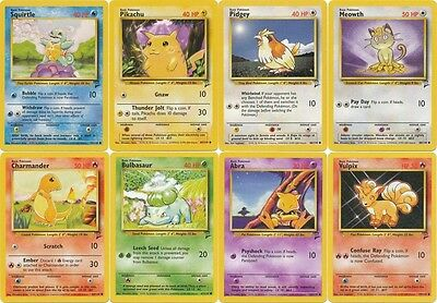 Pokemon Base set 2 common ALL cards Pikachu Squirtle Bulbasaur Charmander CHOOSE