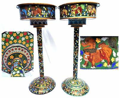 """Pair Large Vintage Chinese Cloisonne Planter Footed Bowls Chi Chi Lion 63cm 25"""""""