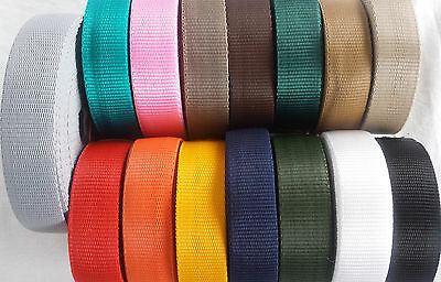 "25 Mm ( 1"" Inch ) Polypropylene Strap Webbing Tape ( Choice Of Colours )"