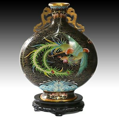 "Large 14"" Chinese Cloisonne Dragon Moon Flask Vase - Stunning"