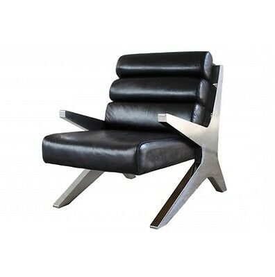 """30"""" vintage leather chair full top grain leather stainless steel modern design"""