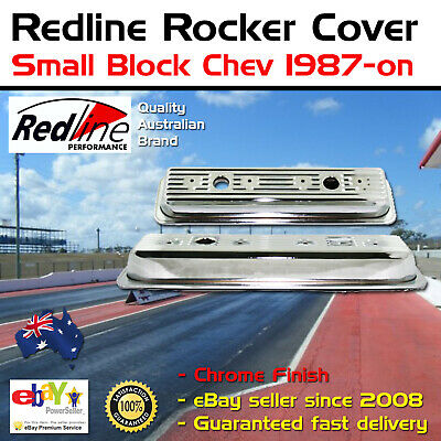 New Redline Polished Chrome Rocker Cover Fits Small Block Chev 1987-on