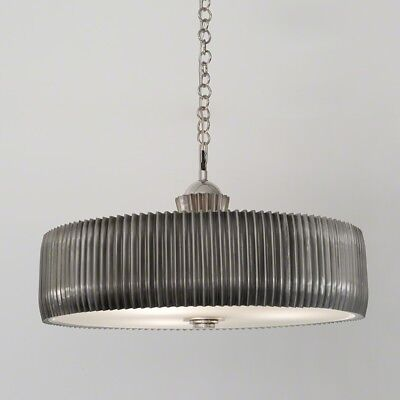 """32"""" Dia. Filippa Chandelier Antique Nickel Hand-crimping Steel Shade Gives Its"""