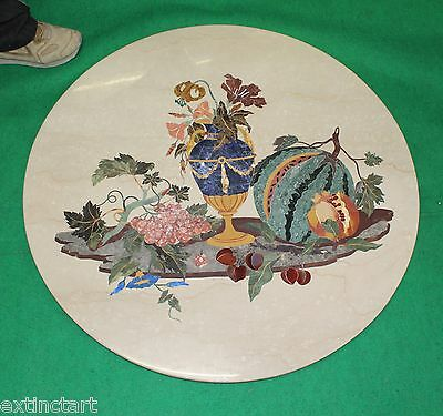 Marvelous Marble Inlay Pietra Dura Antique Vintage Rare Decorative Art Table Top