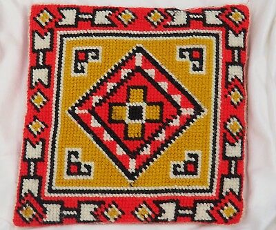 """Vintage Aztec/southwest Embroidered - Throw Couch Pillow Handmade 13.5"""" Square"""