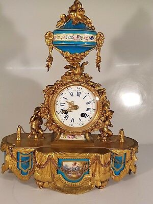 Stunning Ormolu Bronze And Porcelain Severs Panel  French Mantle Clock