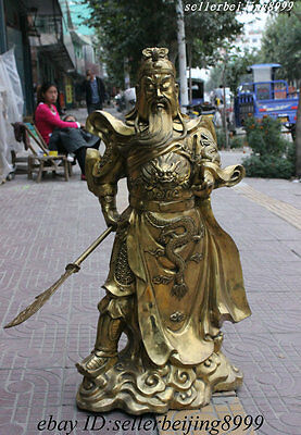 40 Temple Chinese Brass Copper Warrior Guangong Guan Yu God Hold Sword Statue