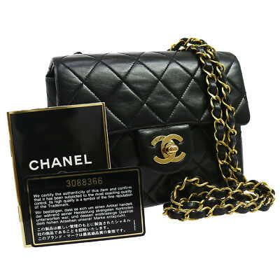 Authentic Chanel Quilted Chain Shoulder Bag Black Leather Vintage Good Rk12720