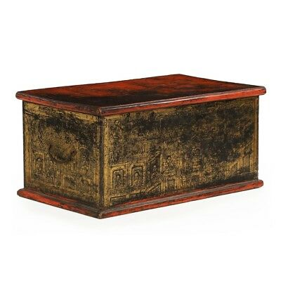 Antique 19th Century Asian Polychromed Red And Gilded Blanket Chest