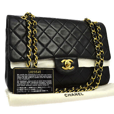 Auth Chanel Quilted Cc Double Flap Chain Shoulder Bag Black Leather Vtg B29598