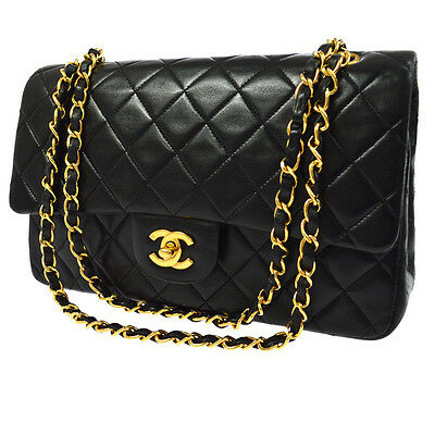 Auth Chanel Double Flap Quilted Cc Chain Shoulder Bag Black Leather Vtg A32127