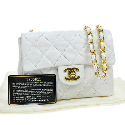 Authentic Chanel Quilted Cc Logos Chain Shoulder Bag White Leather Vtg Ak09441