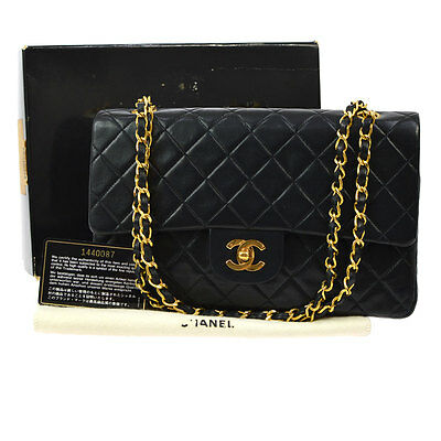 Auth Chanel Quilted Cc Double Flap Chain Shoulder Bag Black Leather Vtg V13603