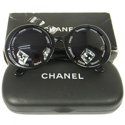 Rare!! Authentic Chanel Vintage Cc Logos Round Sunglasses Eye Wear Black V00064