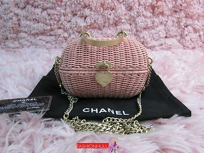 Auth Collectible Rare Vintage Chanel Pink Wicker Straw Rattan Basket Bag