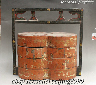 Old China Dynasty Wood Lacquerware Palace Messuage Official Portable Food Box