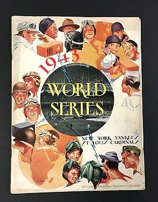 1943 World Series Baseball Program Yankee Stadium Vs St Louis Cardinals Mlb Vtg