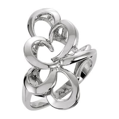 14k White Gold Abstract Flower Heart Ring Reviews & Details