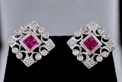 14k, White Gold, Bezel, Prong Set Diamonds, Invincible Set, Rubies, Earrings