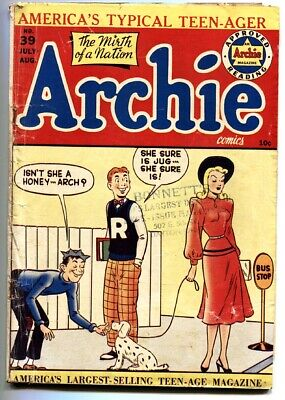 Archie #39 Comic Book-1949-dog Walking Cover-golden-age