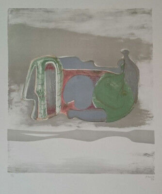 "Henry Moore ""reclining Figure With Sky Background"" Original Lithograph S/n"