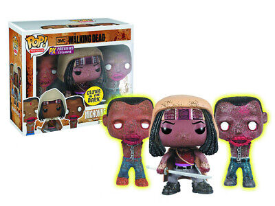 Pop! Walking Dead Michonne & Glow In The Dark Pet Zombies 4in Figure Funko Toys